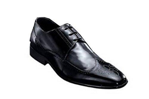 Schnürschuh von business Leder in schwarz grau Schwarz-Grau