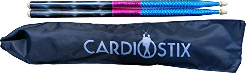 CardioStix Plus Weighted 5oz American Hickory Wood Cardio Drum Sticks 2B 16 Inches Long w/Grips | For Drumming, Fitness, Aerobic Class, Exercises & Workouts | Non-Slip (Shimmering Blue with Bag)
