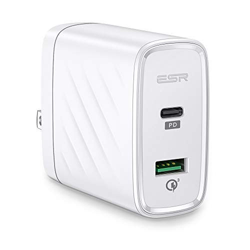 ESR USB C Charger, 36W Dual Port Power Delivery & Quick Charge 3.0 Wall Charger for iPhone Xs/XS Max/XR/X/8/8 Plus, Samsung S10/S10+/S10e/S9/S9 Plus/S8, iPad Pro 12.9/10.5, iPad Mini, iPad Air 10.5 (Mall Qc)