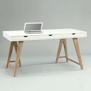 lounge-zone Schreibtisch Sekretär ARIZONA weiß buche Holz 3 ...
