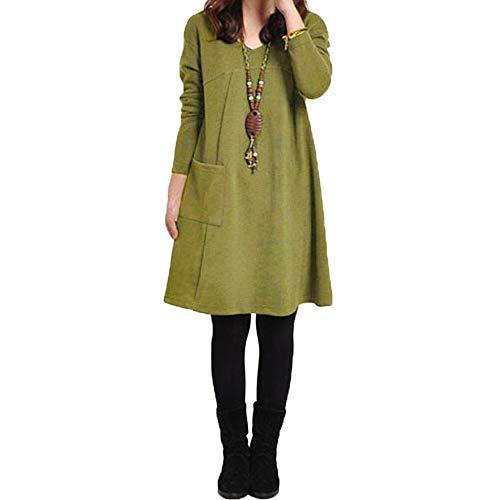 Romacci Autumn Winter Women Dress Plus Size Loose Tunic Long Dress Long Sleeves Pockets Solid V Neck Swing Dress for…