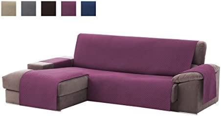 textil-home Funda Cubre Sofá Chaise Longue Adele, Protector para Sofás Acolchado Brazo Izquierdo. Tamaño -240cm. Color Malva (Visto DE Frente)