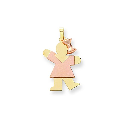 14k Two-Tone Large Girl With Bow On Right Engravable Charm by Shop4Silver