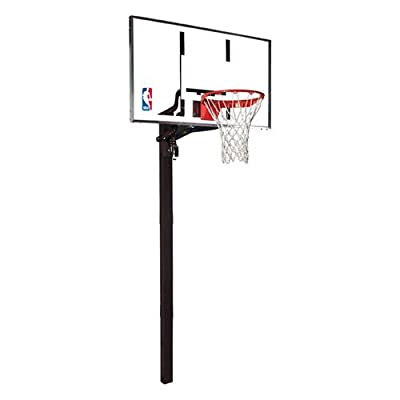 Huffy Sports Company 88454G Spalding H-Frame Steel 54in Glass Backboard  Inground Basketball System