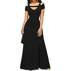 ONLY TOP Women's Evening Dresses Off Shoulder Side Split Slim Maxi Party Dress Prom Cocktail Patry Wedding Black
