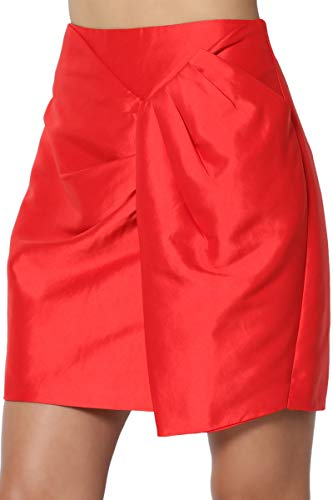 TheMogan Junior's High Waist Pleated Wrap Stretch Taffeta Mini Skirt Red L