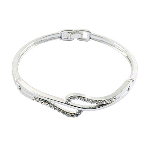 Iuhan Crystal Cuff Bangle New Fashion Women Lady Charm Rhinestone Bracelet - Bracelet Set Toned