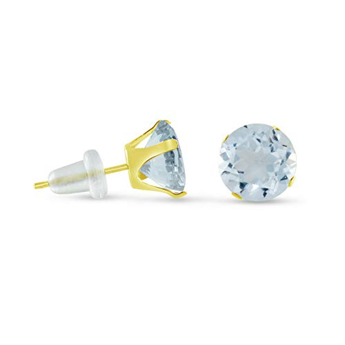 - Crookston Round Simulated Aqua Blue 10K Yellow Gold Stud Earrings - Choose Your Size | Model ERRNGS - 15124 | 9mm - 3XL Large