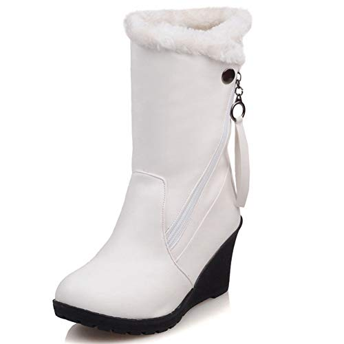 Calf Snow White Warm Wedge Winter Decostain Boots Mid Comfort Soft Leather Patent 4ZqY4fxwHE