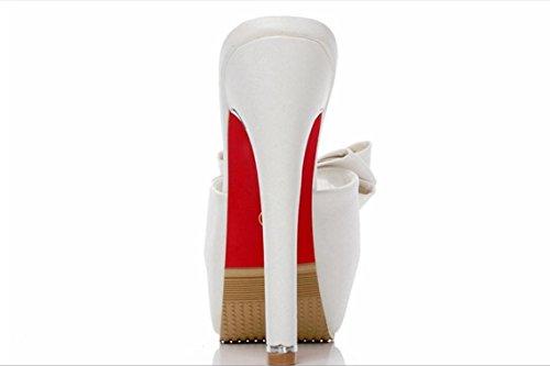 YCMDM delle donne di modo tacco alto impermeabili dirigono i pattini della bocca dei pesci grande arco singoli pistoni freddi , white , 39