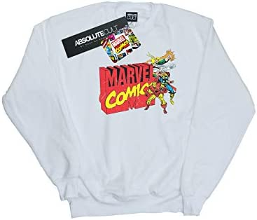 Marvel Comics Herren Vintage Logo Blast Sweatshirt Weiß XXXXX-Large