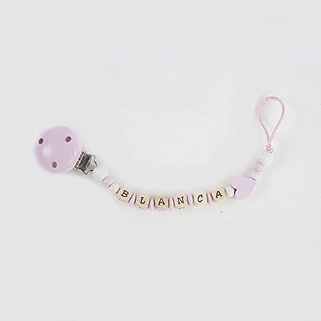 Cadena sujetachupetes de madera personalizada para bebés, rosa-corazón. Portachupetes con nombre: Amazon.es: Bebé