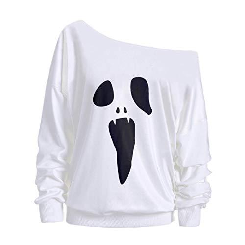 DEATU Womens Halloween Tops Clearance Sales! Ladies Teen Halloween Long Sleeve Ghost Print Sweatshirt Pullover Blouse(A-White,L) from DEATU