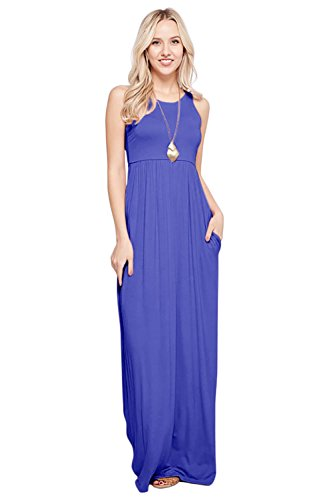Sportoli Maxi Dresses for Women Solid Lightweight Long Racerback Sleeveless W/Pocket -Royal Blue (Medium)