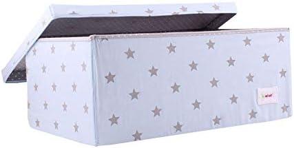 Minene - Caja grande de almacenamiento con tapa, azul con estrellas grises, ideales para guardar juguetes: Amazon.es: Bebé