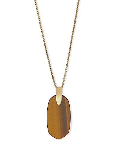 Kendra Scott Inez Brown Tigers Eye Gold Long Pendant Necklace