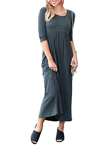 ress Floral Printed Autumn 3/4 Sleeve Casual Tunic Long Maxi Dress (X-Large, Gray) ()