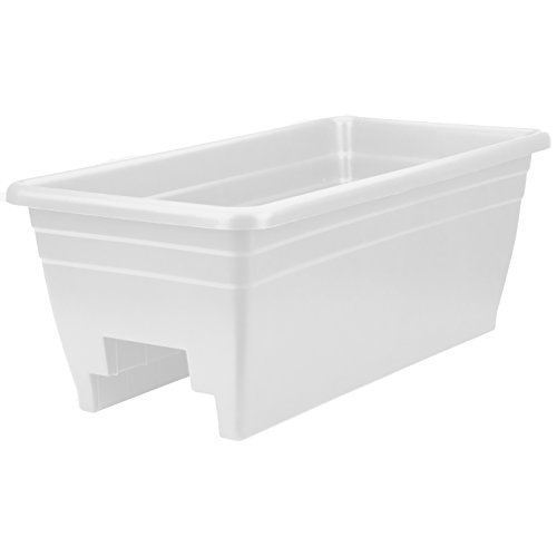 The HC Companies SPX24DB0A10 Akro White Deck Rail Box Planter , 24