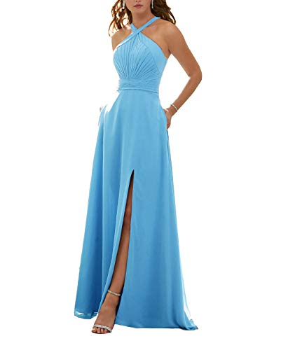 Stylefun Women's Halter Bridesmaid Dresses Slit 2019 Formal Prom Evening Party Gowns with Side Pockets 6 Ice Blue