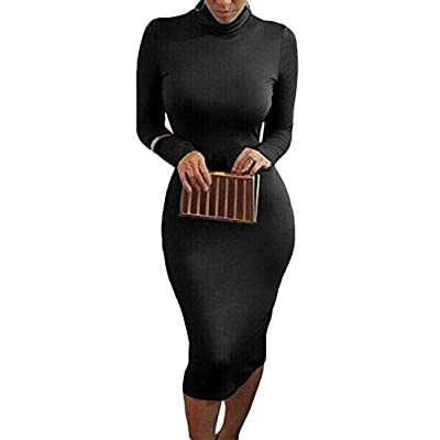 Pink Queen Womens Turtleneck Long Sleeve Bodycon Midi Sheath Dress: Clothing