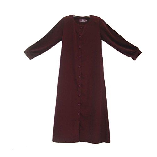MUNA'S HIJAB Women's Button Jubah Small Maroon