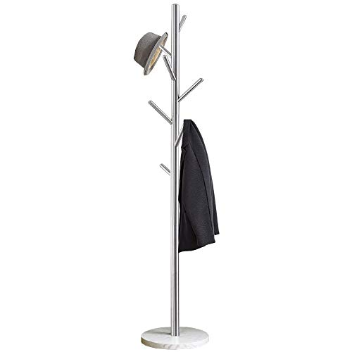 Jolitac Metal Coat Rack Stand Satin Steel Finish Stable Marble Base, High-Grade with Hooks Metal Tree Hat & Coat Hanger Floor Free Standing Wall Bedroom Easy Assembly (Satin Steel)