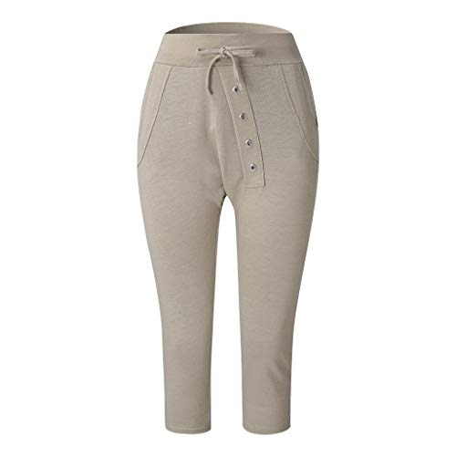 (Weiliru Women's Pants Trouser Slim Casual Cropped Harem Pants Low Waist Button Pants Beige)