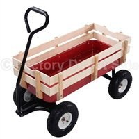 Outdoor Wagon ALL Terrain Pulling Children Kid Garden Cart w/ Wood Railing Red by Deco House