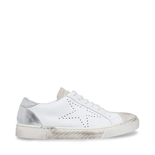 STEVEN by Steve Madden Women's REZZA Sneaker, White, 7 M US
