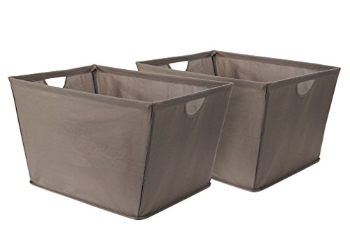 STORAGE MANIAC Pack of 2 Wire Frame Folding Storage Basket, Durable Open Tapered Fabric Storage Bin with Built-in Handles in Drab, (Tapered Storage Basket)