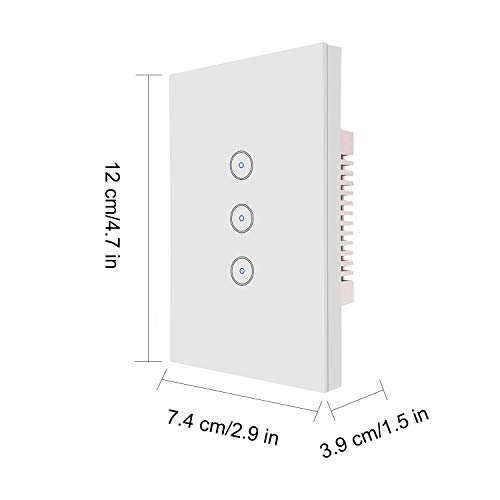 Xenon Crystal Tempered Glass Smart Touch Panel WiFi Wall Light Switch Plus(Can Controlled Separately with Alexa),3 Gang US Standard,Compatible with Alexa 120V 31h3fNPnzyL
