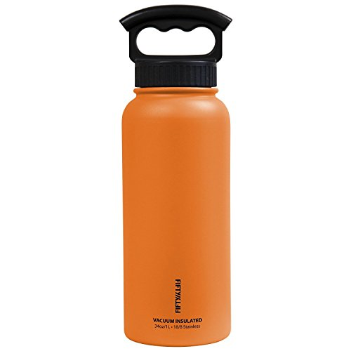 FIFTY/FIFTY Vacuum-Insulated Stainless Steel Bottle with Wide Mouth - 34 oz. Capacity - Solar Orange by FIFTY/FIFTY