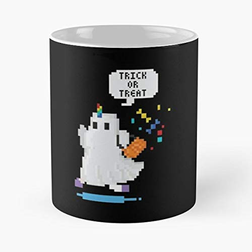 Funny Unicorn Halloween Costume Pixel Art Ceramic Novelty Cup 11 Oz ()