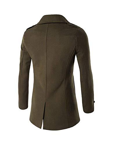 Outwear Long Breasted Armeegrün Coat Double Slim Sleeve Fit Winter Huixin Coat Men's Coat Apparel Trench Coat Warm Coat Lapel Warm Jacket Coat wgRnP16q