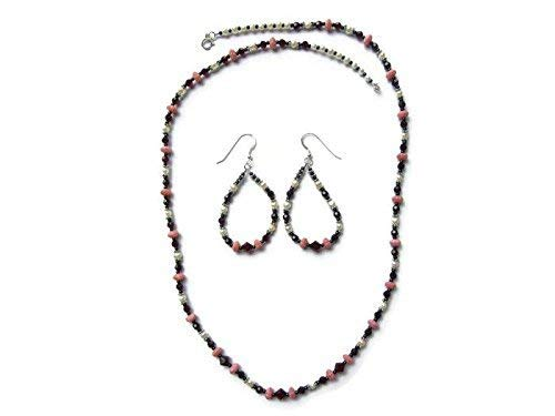 (Garnet Swarovski Crystals with White Pearls Earring & Necklace Set)