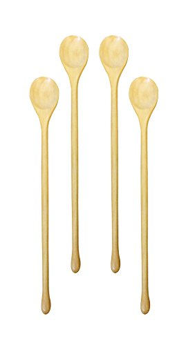 French Beechwood Mixing Spoon - (Set of 4) Omin Handmade Natural Kankrao Wood Long Handle Wooden Spoons, Cocktail Drink Stirrers, Swizzle Sticks, Bar Spoon Cocktail Mixing Spoon 8.2 Inch with Gift Package