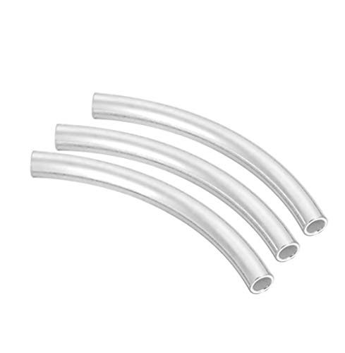 g Silver Sleek Curved Noodle Tube Beads 20mm x 1.5mm Tube (~1.2mm Hole) #ss238 ()