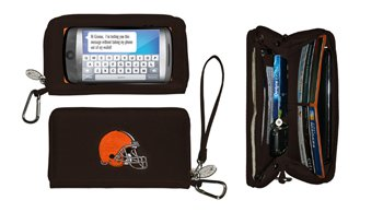 NFL Cleveland Browns Womens Deluxe Cell Phone Wallet with Embroidered Logo- Fits All Phones by Little Earth