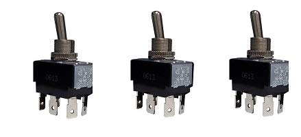 Morris 70299 Heavy Duty Momentary Contact Toggle Switch, DPDT, (On)-Off-(On), Quick Connect Spade Terminals (3-(Pack))