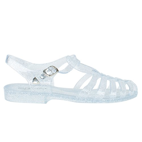 New Women Summer Retro Jelly Slingback Strappy Heel Rain Sandals,Color:ClearGLT29 Size:5.5
