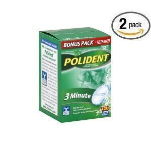 Polident Antibacterial 3 Min Denture Cleanser 120 Tabletsper Box (Pack of 2) from Polident