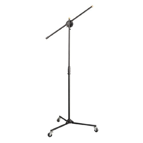 Pyle Universal Rolling Wheel Tripod Microphone Stand - Adjustable Height from 27.5