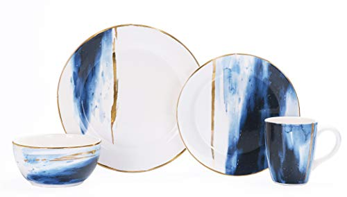 Bico Navy Blue Watercolor Marble Gold Decor Handcrafted Ceramic 4 pcs Placing Set/Dinnerware Service for 1, Microwave Safe & Handwash, Birthday Anniversary House Warming Gift (Set And White Gold Dish)