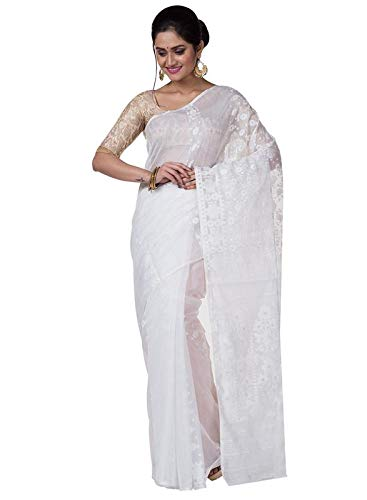 ae2074dbfb136 TJ SAREES Women s Resham Dhakai Jamdani Saree Without Blouse Piece  (TD300025