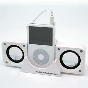 White Cube Travel Speakers For iPod