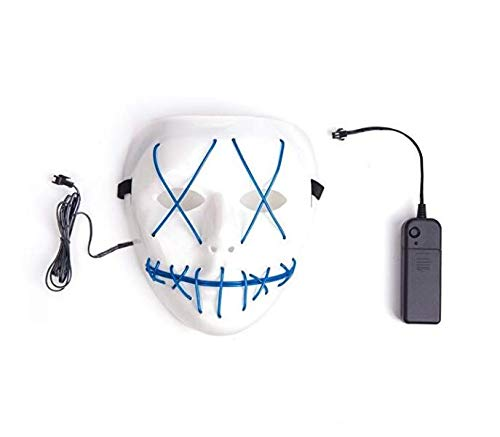 VILONG Scary Halloween Mask Cosplay Led Costume Mask El Wire Light Up Mask for Festival Parties (Light Blue)]()