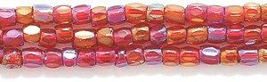(Preciosa Ornela Czech 3-Cut Style Seed Glass Bead, Size 9/0, Aurora Borealis Transparent Garnet)