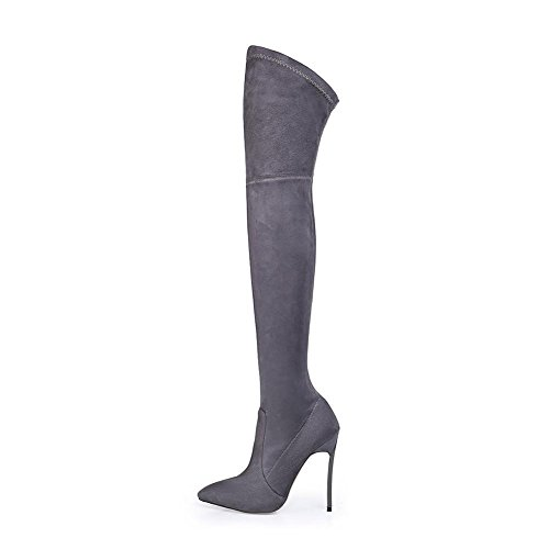 Elastic Boots NVXIE Stiletto Heel Black EUR36UK354 Brown Women GRAY Ladies Suede Pointed Knee Winter Shoes Thigh Autumn High Over qXgFXwY