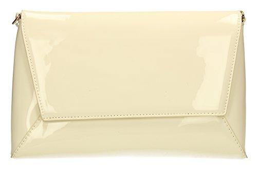 Elise-Sandalo da donna, in pelle verniciata per Night Out PopArtUK-Clutch-SWANKYSWANS Cream White