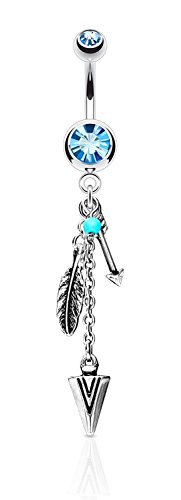 (Surgical Steel Aqua Crystal Tribal Feather and Arrow Charms Synthetic Turquoise Dangle Belly Ring)